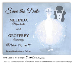 Blue Formal Attire Save the Date Wedding Magnet