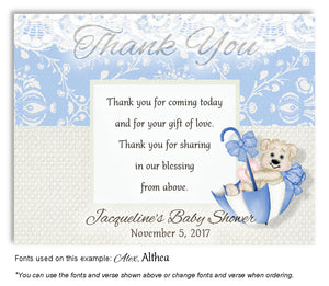 Blue Beary Cute Thank You Baby Shower Magnet
