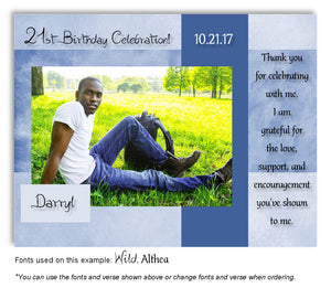 Blue Framed Thank You Photo Birthday Magnet