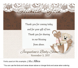 Brown Beary Cute Thank You Baby Shower Magnet