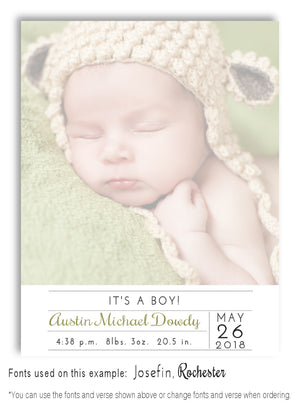 Faded Photo Birth Announcement Magnet