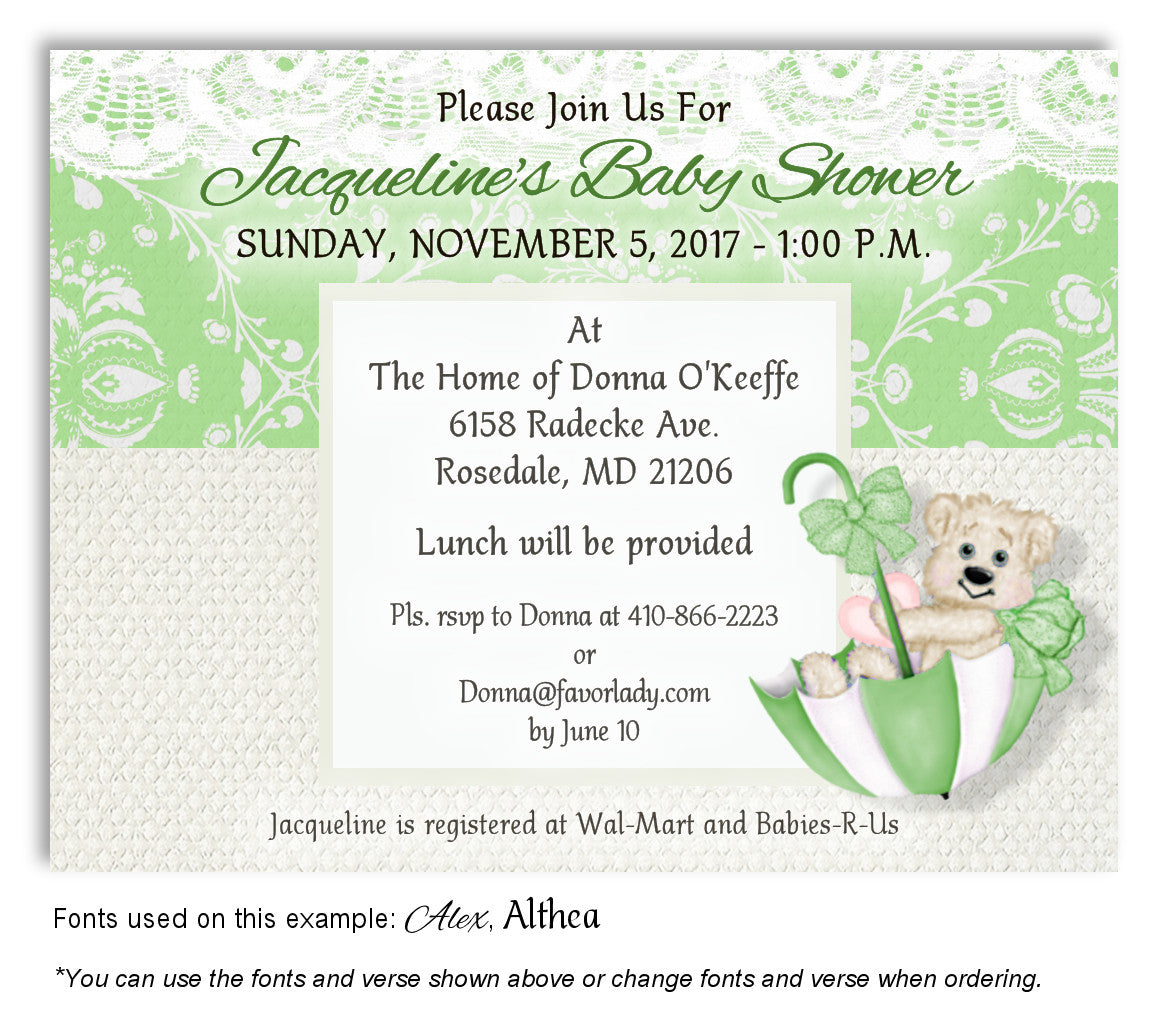 Beary cute baby shower magnets 12 favorlady lime green beary cute invitation baby shower magnet filmwisefo