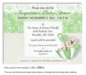 Lime Green Beary Cute Invitation Baby Shower Magnet