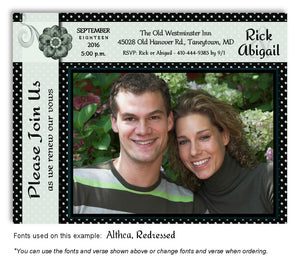 Green Polka Dot Invitation Photo Anniversary Magnet