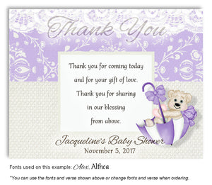 Lavender Beary Cute Thank You Baby Shower Magnet