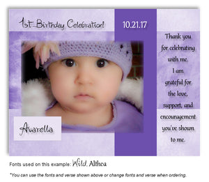 Lavender Framed Thank You Photo Birthday Magnet