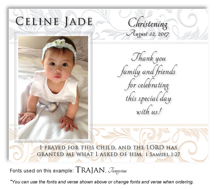 Lavender-Cream Scroll Trim Thank You Baptism Magnet