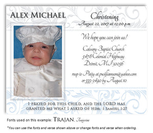 Light-Gray-Light-Blue Scroll Trim Invitation Baptism Magnet