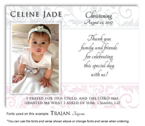 Light-Gray-Light-Pink Scroll Trim Thank You Baptism Magnet