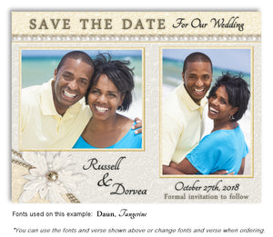 Light Yellow-White Lace and Pearls Save the Date Wedding Photo Magnet