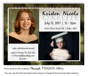 Lime Olive Green Invitation Photo Graduation Magnet