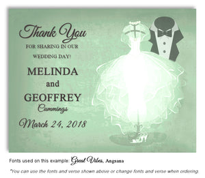 Green Formal Attire Thank You Wedding Magnet