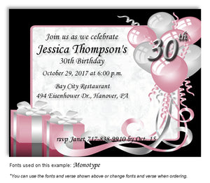 Pink Time to Celebrate Invitation Birthday Magnet