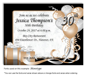 Gold Time to Celebrate Invitation Birthday Magnet