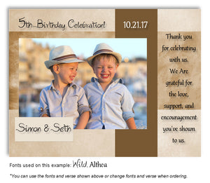 Tan Framed Thank You Photo Birthday Magnet