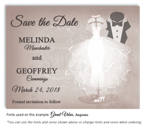 Taupe Formal Attire Save the Date Wedding Magnet
