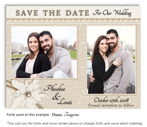 Taupe Lace and Pearls Save the Date Wedding Photo Magnet