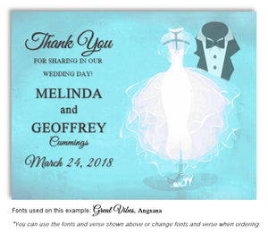 Turquoise Formal Attire Thank You Wedding Magnet