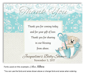 Turquoise Beary Cute Thank You Baby Shower Magnet