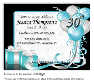 Turquoise Time to Celebrate Invitation Birthday Magnet