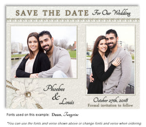 White Lace and Pearls Save the Date Wedding Photo Magnet