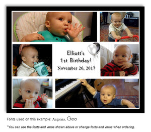 Black-White Collage Thank You Birthday Photo Magnet