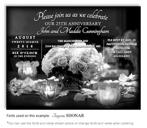 Black and White Bouquet of Lights Invitation Anniversary Magnet