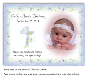 Denim Blue Floral Cross Thank You Photo Baptism Magnet