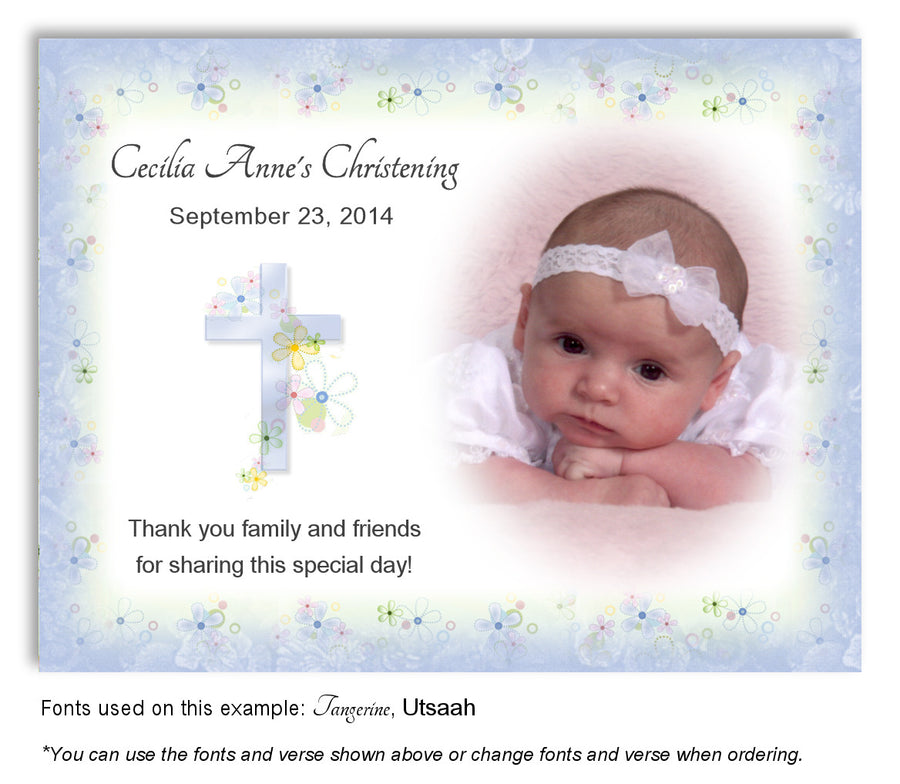 Aqua Floral Cross Thank You Photo Baptism Magnet