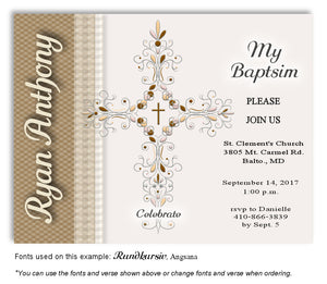 Gold Ornate Cross Invitation Baptism Magnet