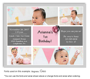 Gray-Pink Collage Invitation Birthday Photo Magnet