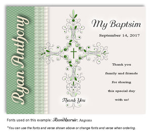 Green Ornate Cross Thank You Baptism Magnet
