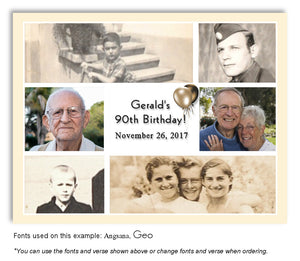 Ivory-White Collage Thank You Birthday Photo Magnet