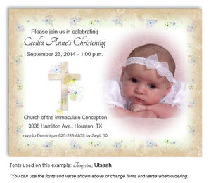 Khaki Floral Cross Invitation Photo Baptism Magnet