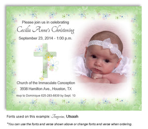 Lime Green Floral Cross Invitation Photo Baptism Magnet