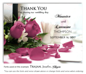 Mauve Rose Petals Thank You Wedding Magnet