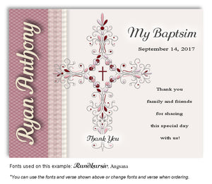 Pink Ornate Cross Thank You Baptism Magnet