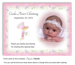Pink Floral Cross Thank You Photo Baptism Magnet