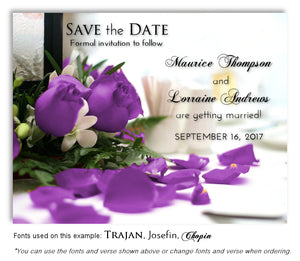 Purple Rose Petals Save the Date Wedding Magnet