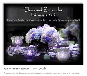 Blue and Lavender Bouquet of Lights Thank You Anniversary Magnet