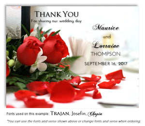 Red Rose Petals Thank You Wedding Magnet