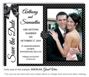 Polka Dot Save the Date Wedding Photo Magnet