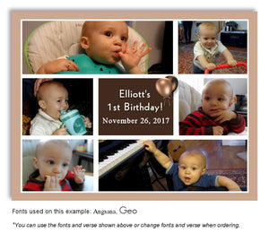Tan-Brown Collage Thank You Birthday Photo Magnet