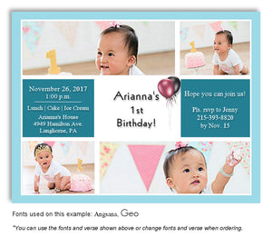 Turquoise-White Collage Invitation Birthday Photo Magnet