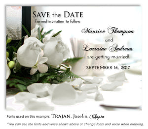 White Rose Petals Save the Date Wedding Magnet