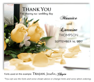 Yellow Rose Petals Thank You Wedding Magnet