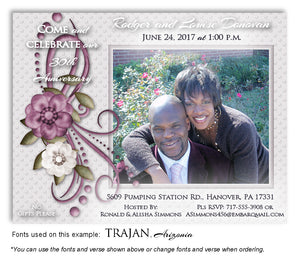 Mauve Vintage Invitation Anniversary Photo Magnet