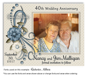 Blue Vintage Save the Date Anniversary Photo Magnet