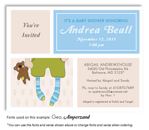 Blue-Tan Stocking Feet Invitation Baby Shower Magnet