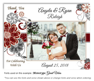 Burgundy Floral Pop Thank You Wedding Photo Magnet